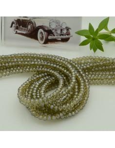 filo cristalli 2 x 3 mm colore Verde oliva trasparente sfaccettato e briolette 200 pz per le tue creazioni