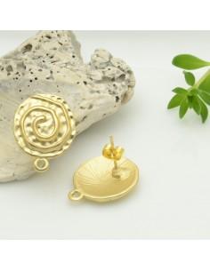 base orecchini con perni in zama FANTASIA SPIRALE col oro 15 x 19 mm per ciondoli per fai da te