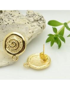 base orecchini con perni in zama FANTASIA SPIRALE lucido col oro 15 x 19 mm per ciondoli per fai da te