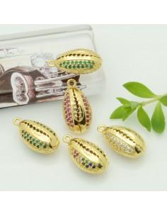 ciondoli forma con conchiglia zircone col oro 10 x 18 mm pendente conchiglia in ottone per tue creazione