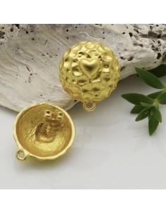 base orecchini con perni in zama rotonda cuore col oro 16 x 18 mm per ciondoli per fai da te i tuoi orecchini