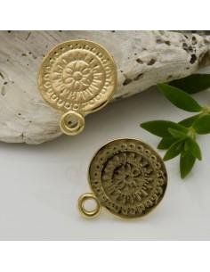 base orecchini con perni in zama FANTASIA SPIRALE lucido col oro 14 x 17 mm per ciondoli per fai da te