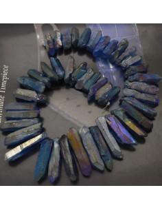 cristallo naturale colorato blu scuro forma Bullet lunghi con foro passante alto per tue creazioni