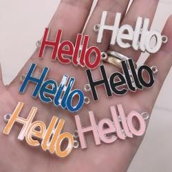 Connettore Smaltato scritta Hello 16.5 x 41 mm base argento varia col per bracciale fai da te