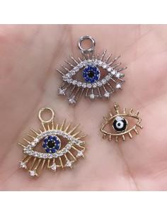Ciondoli Charms occhio con zirconi e smaltato in ottone 1 pz per le tue creazione