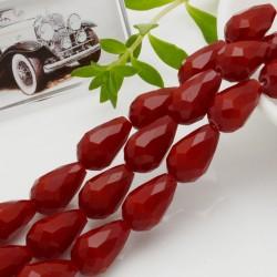 goccia cristalli cinese briolette sfaccettata 11 x 15 MM col rosso filo 24 pz per orecchini collana per le tue creazioni
