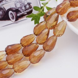 goccia cristalli cinese briolette sfaccettata 11 x 15 MM col Ambra filo 24 pz per orecchini collana per le tue creazioni