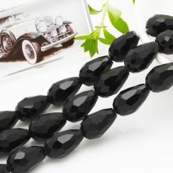 goccia cristalli cinese briolette sfaccettata 11 x 15 MM col nero filo 24 pz per orecchini collana per le tue creazioni