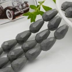 goccia cristalli cinese briolette sfaccettata 11 x 15 MM col grigio filo 24 pz per orecchini collana per le tue creazioni