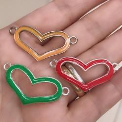 Connettore Smaltato cuore vuota 18 x 37 mm base argento varia col per bracciale fai da te