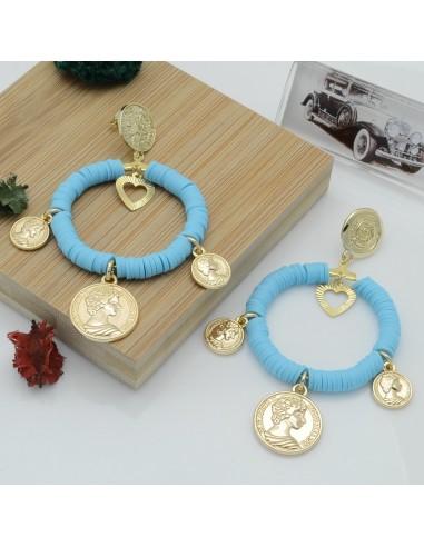 orecchini creato con ciondoli moneta perle Rondelle Pasta Polimerica