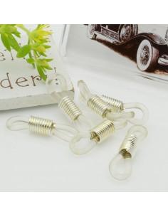 Gommini connettori per catenelle occhiali 5 x 24 mm argento / trasparente per le tue creazione