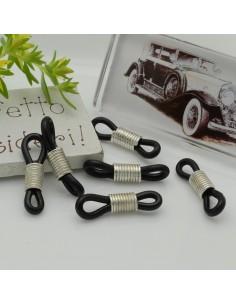 Gommini connettori per catenelle occhiali 5 x 24 mm argento / nero per le tue creazione