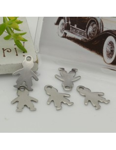 4 pz ciondolo in acciaio inox bimbo inossidabile liscio con 10 x 14 mm per le tue creazioni