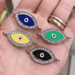 Connettore Smaltato forma dell'occhio con strass 16 x 39 mm base argento per bracciale fai da te per le tue creazioni