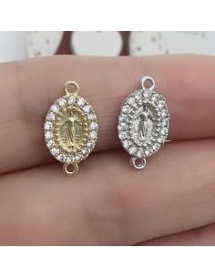 Connettore per rosario a forma di Madonnina con zircone in ottone Zirconi 9 x 15 mm 1 pz per tue creazione