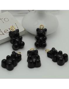 Ciondolo Orsetto nero Gommoso in Resina 22 x 12 mm con ganci in ottone per le tue creazione