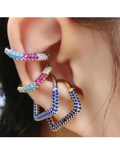 Orecchini Cuore ear cuff orecchini con zirconi 2 pz in ottone