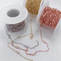 Catene con zirconi in ottone anelli saldati ogni 5 cm Con Zirconi Taglio Brillante Incastonati 4 mm per 50 cm
