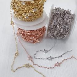 Catene con zirconi forma stella in ottone anelli saldati ogni 5 cm Con Zirconi Taglio Brillante Incastonati 5 mm per 50 cm