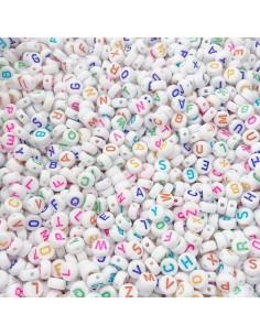 maxi confezione PERLINE PERLE Lettere Alfabeto mix colore IN PLASTICA BIANCO 7mm 500 pz PER BIGIOTTERIA per le tue creazioni