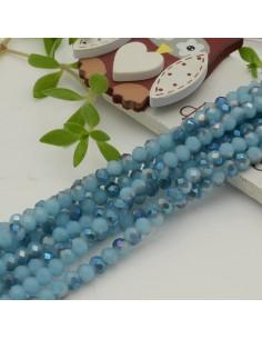 Filo mezzo cristallo Rondelle Cipollotti azzurro rodio 3x4 mm briolette 125 a 145pz per le tue creazioni