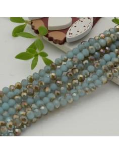 Filo mezzo cristallo Rondelle Cipollotti azzurro cammello 3x4 mm briolette 125 a 145pz per le tue creazioni
