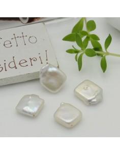 2 pz perle di fiume sfuse quadrato foro sulla diagonale irregolare piatta col bianco 14 mm per tue creazioni