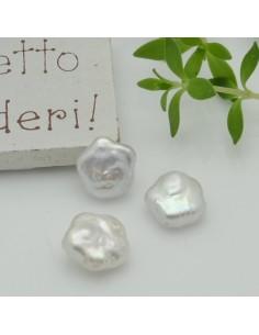 1 pz perle di fiume sfuse perle di fiume sfuse fiore foro irregolare piatta col bianco 11.50 mm per tue creazioni