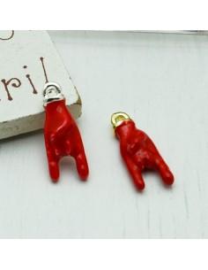 Ciondolo smaltato rosso mano con corna scaccia sfortuna in ottone 8 x 18 mm 1 pz per le tue creazioni!!!