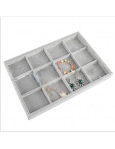 vassoio per gioielli Esposizione 12 CONTENITORI col grigio PER GIOIELLERIA