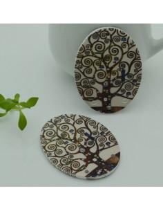 2 PZ Ciondoli Elemento 4 FORI pendente in legno con disegno albero della vita 30 x 40 mm ovale per orecchini