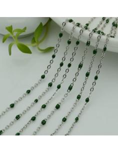 Catene in acciaio con palline smaltate verde scuro Catena ovalina base argento 1 mt