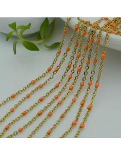 Catene in acciaio con palline smaltate arancione Catena ovalina base oro 1 mt