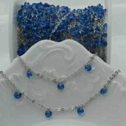 Catene in acciaio con zirconi anelli saldati col argento ogni 2 cm Con charm Zirconi col azzurro Taglio Brillante 4 mm 50 cm