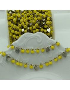 Catena Rosario con cristalli 4 mm giallo cuore base argento rodio in Ottone 50 cm per bigiotteria