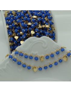 Catena Rosario con cristalli 4 mm celesti cuore base oro chiaro in Ottone 50 cm per bigiotteria