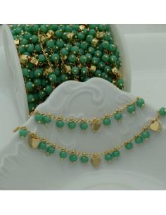 Catena Rosario con cristalli 4 mm Tiffany è verde cuore base oro chiaro in Ottone 50 cm per bigiotteria