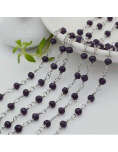 catena rosario in acciaio concatenata con cristalli 4 mm col viola scuro 50 cm per fai da te