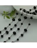 catena rosario in acciaio concatenata con cristalli 6 mm 4 mm 3 mm col neri 50 cm per fai da te