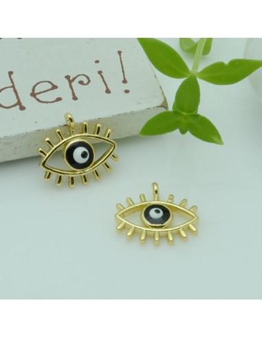 ciondolo occhio greco oro occhio smaltato in ottone per le tue creazione