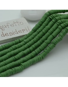 fili Rondelle Pasta Polimerica col vede oliva 1 x 6 mm 39/40 cm Polimero Perline Heishi per le tue creazione