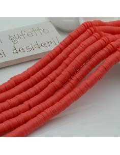 fili Rondelle Pasta Polimerica col rosso chiaro 1 x 6 mm 39/40 cm Polimero Perline Heishi per le tue creazione