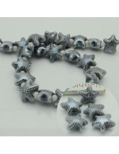 perline stella marine in ceramica col grigio scuro 10 x 20 mm per gioielli le tue creazioni