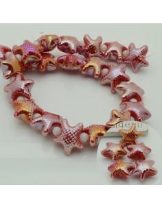 perline stella marine in ceramica col rosso AB 10 x 20 mm per gioielli le tue creazioni