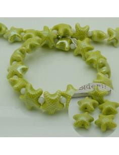 perline stella marine in ceramica col verde limone 10 x 20 mm per gioielli le tue creazioni