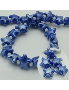 perline stella marine in ceramica col blu 10 x 20 mm per gioielli le tue creazioni