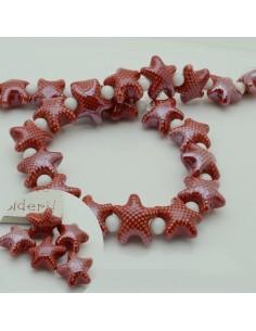 perline stella marine in ceramica col bordò chiaro 10 x 20 mm per gioielli le tue creazioni