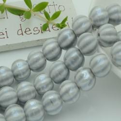 perle in ceramica luminosa forma zucca col grigio chiaro 12 mm per gioielli le tue creazioni