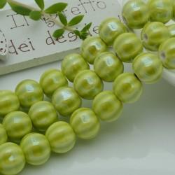 perle in ceramica luminosa forma zucca col verde limone 12 mm per gioielli le tue creazioni